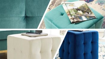 Contour Tufted Button Cube Performance Velvet Ottoman