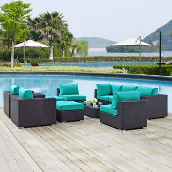 CONVENE 10 PIECE OUTDOOR PATIO SECTIONAL 2169 SET IN ESPRESSO