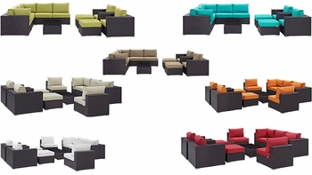 CONVENE 10 PIECE OUTDOOR PATIO SECTIONAL SET IN ESPRESSO