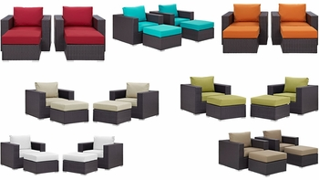 CONVENE 4 PIECE OUTDOOR PATIO SECTIONAL SET IN ESPRESSO
