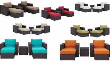 CONVENE 5 PIECE OUTDOOR PATIO SECTIONAL SET IN ESPRESSO