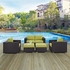 CONVENE 5 PIECE OUTDOOR PATIO SOFA SET IN ESPRESSO BEIGE