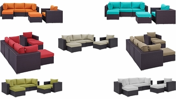 CONVENE 6 PIECE OUTDOOR PATIO SECTIONAL SET IN ESPRESSO