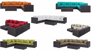 CONVENE 7 PIECE OUTDOOR PATIO SECTIONAL SET IN ESPRESSO