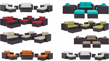 CONVENE 8 PIECE OUTDOOR PATIO SOFA SET IN ESPRESSO