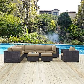 CONVENE 9 PIECE OUTDOOR PATIO 2208 SECTIONAL SET IN ESPRESSO