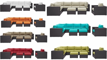 CONVENE 9 PIECE OUTDOOR PATIO SECTIONAL SET IN ESPRESSO