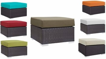 CONVENE OUTDOOR PATIO FABRIC SQUARE OTTOMAN IN ESPRESSO
