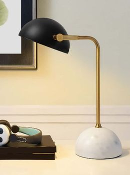 Convey Bronze and White Marble Table Lamp 3090