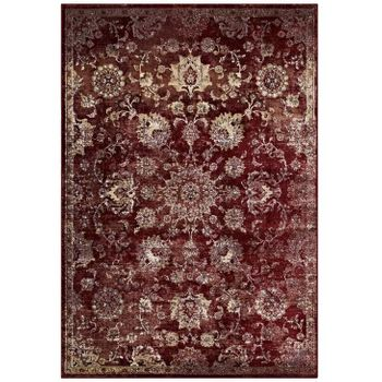 CYNARA DISTRESSED FLORAL PERSIAN MEDALLION 8X10 AREA RUG IN BURGUNDY AND BEIGE