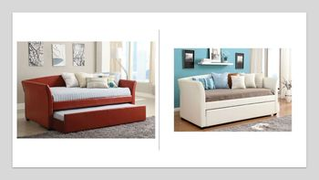 Delmar upholstered twin size daybed with trundle # CM1956WH