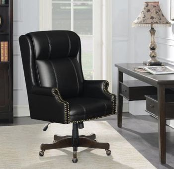 Upholstered Office Chair With Casters Black And Dark Cherry # 802077