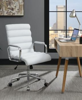 Channel Tufted Office Chair White And Chrome # 880079