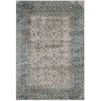 DILYS DISTRESSED VINTAGE FLORAL LATTICE 5X8 AREA 1103A RUG IN TEAL, BROWN AND BEIGE