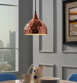 "Dimple 11"" Bell-Shaped Rose Gold Pendant Light 2904"
