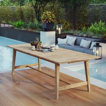 "DORSET OUTDOOR PATIO TEAK 98.5"" DINING TABLE IN NATURAL"
