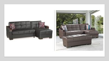 Downtown PU Sectional Sleeper with Storage