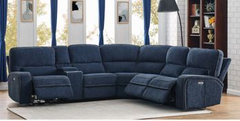 Dundee 6-Piece Power^2 Sectional Navy Blue 603370