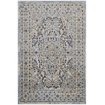 ELQENNA ORNATE VINTAGE FLORAL TURKISH 5X8 AREA RUG IN BLUE AND CREAM