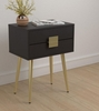 Rectangle Accent Table With USB Port Cappuccino And Matte Brass # 931195