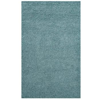 ENYSSA SOLID 5X8 SHAG AREA RUG IN AQUA BLUE AND IVORY