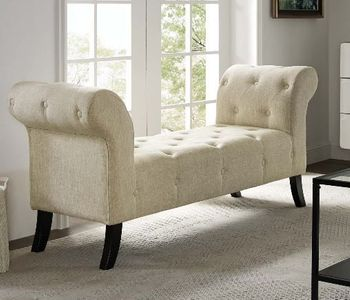 Evince Button Tufted Accent Upholstered Fabric Bench # 3578