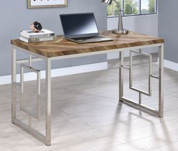 Felsberg Writing Desk Rustic Tobacco Herringbone And Nickel 802601