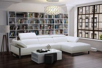 Fleurier Leather Sectional in White