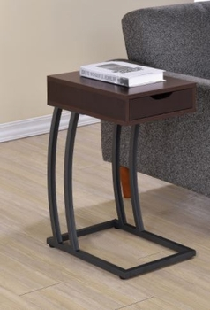 Floor Model Accent Table With Power Outlet Cappuccino 900578
