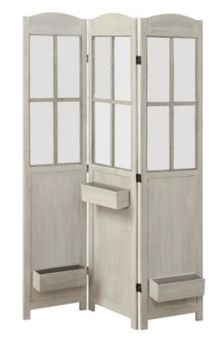 3-Panel Folding Screen With Planter Boxes Antique White 900636