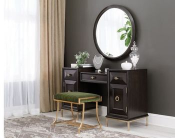 Formosa 4-Drawer Vanity Desk Americano And Rose Brass with a Stool 222827