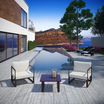 FORTUNA 3 PIECE OUTDOOR PATIO SECTIONAL CHAIR SET