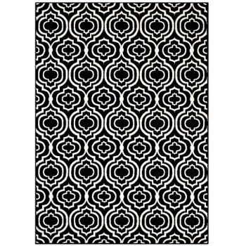 FRAME TRANSITIONAL MOROCCAN TRELLIS 5X8 AREA 1130A RUG IN BLACK AND WHITE