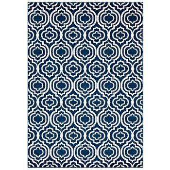 FRAME TRANSITIONAL MOROCCAN TRELLIS 5X8 AREA RUG IN MORCOCCAN BLUE AND IVORY
