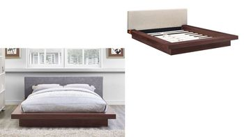 Freja Queen Fabric Platform Bed in Walnut