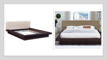 Freja Queen Fabric Platform Bed in Cappuccino