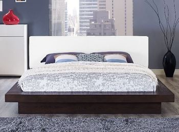 Freja Queen Vinyl Platform Bed in White