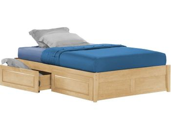Full size Tall basic platform bed with Two storage drawers - 10 Year Warranty