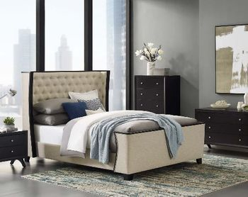 Galia Queen Upholstered Linen Fabric Platform Bed in Beige