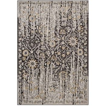 GANESA DISTRESSED DIAMOND FLORAL LATTICE 5X8 AREA 1108A RUG IN BLACK AND BEIGE