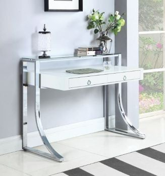 Gemma 2-Drawer Writing Desk Glossy White And Chrome