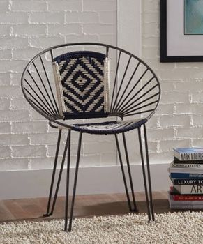 Geometric Pattern Accent Chairs Navy And Beige