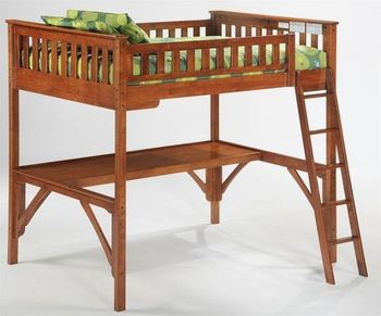 Ginger Twin Size Loft Bed with Straight desk - 10-year warranty
