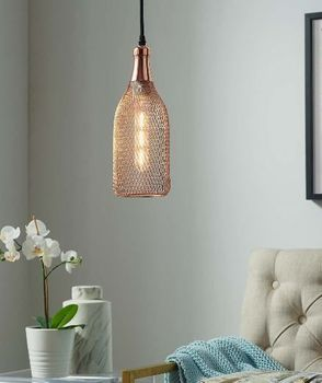 Glimmer Bottle-Shaped Rose Gold Pendant Light 2900
