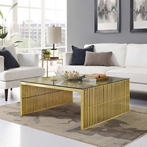 Gridiron Stainless Steel Coffee Table in Gold 3037