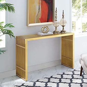 Gridiron Stainless Steel Console Table in Gold 3036
