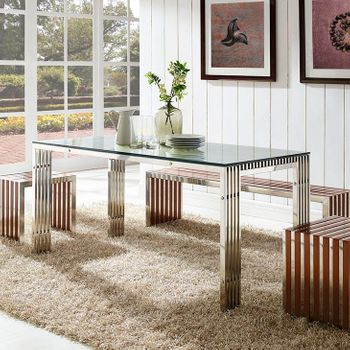 GRIDIRON STAINLESS STEEL DINING TABLE IN SILVER