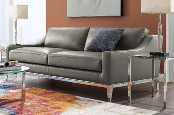 """Harness 83.5"""" Stainless Steel Base Leather Sofa 3444"""