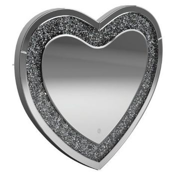 Heart Shape Wall Mirror Silver 961535