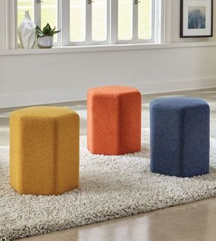 Hexagonal Upholstered Stool # 918515